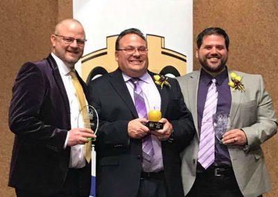 Bridge Award - Keith Drown (L), Matt Dick (Golden Apple), and Eric Philips (R)